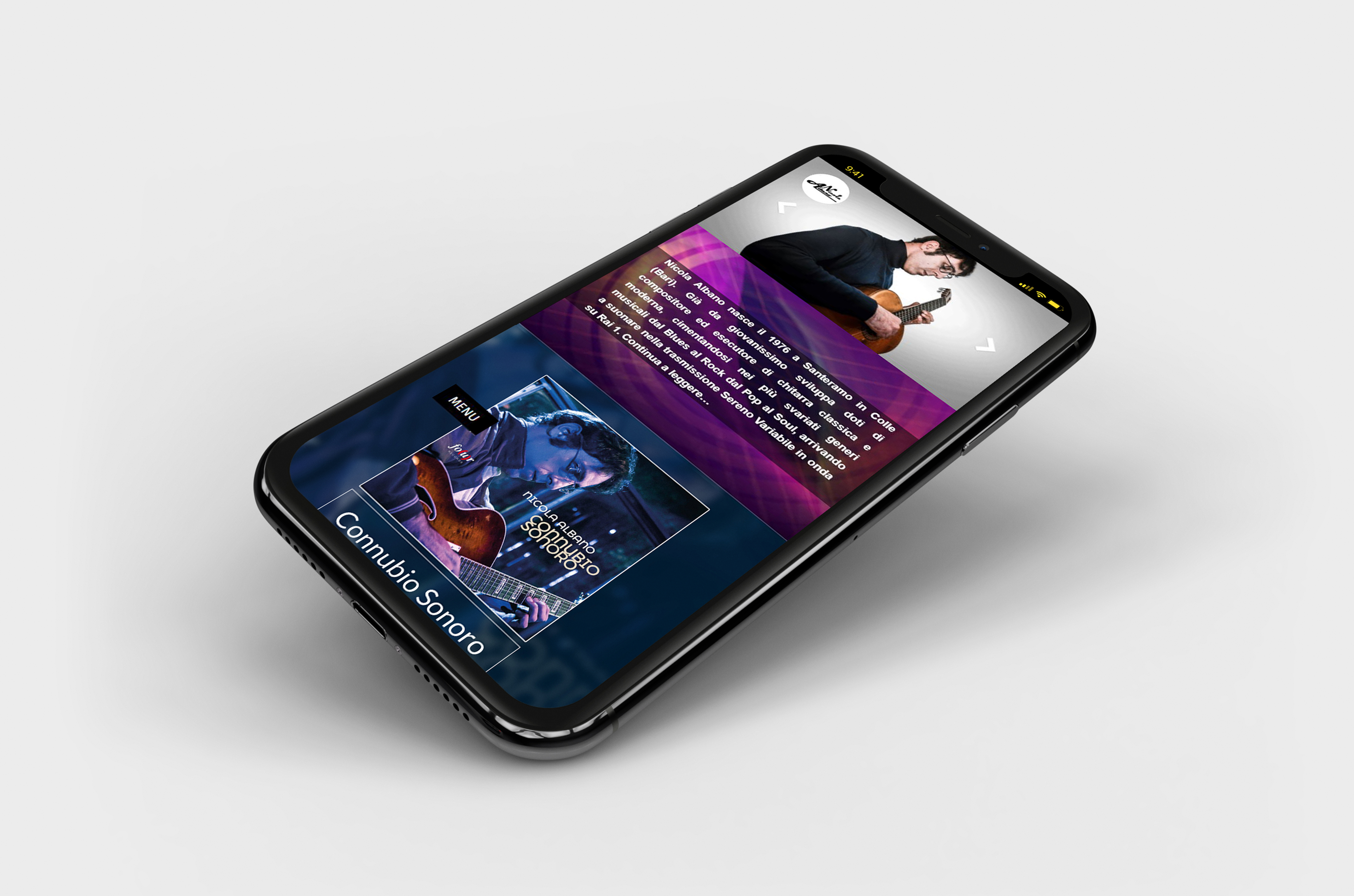 mockup screenshot sito attuale nicola albano smartphone