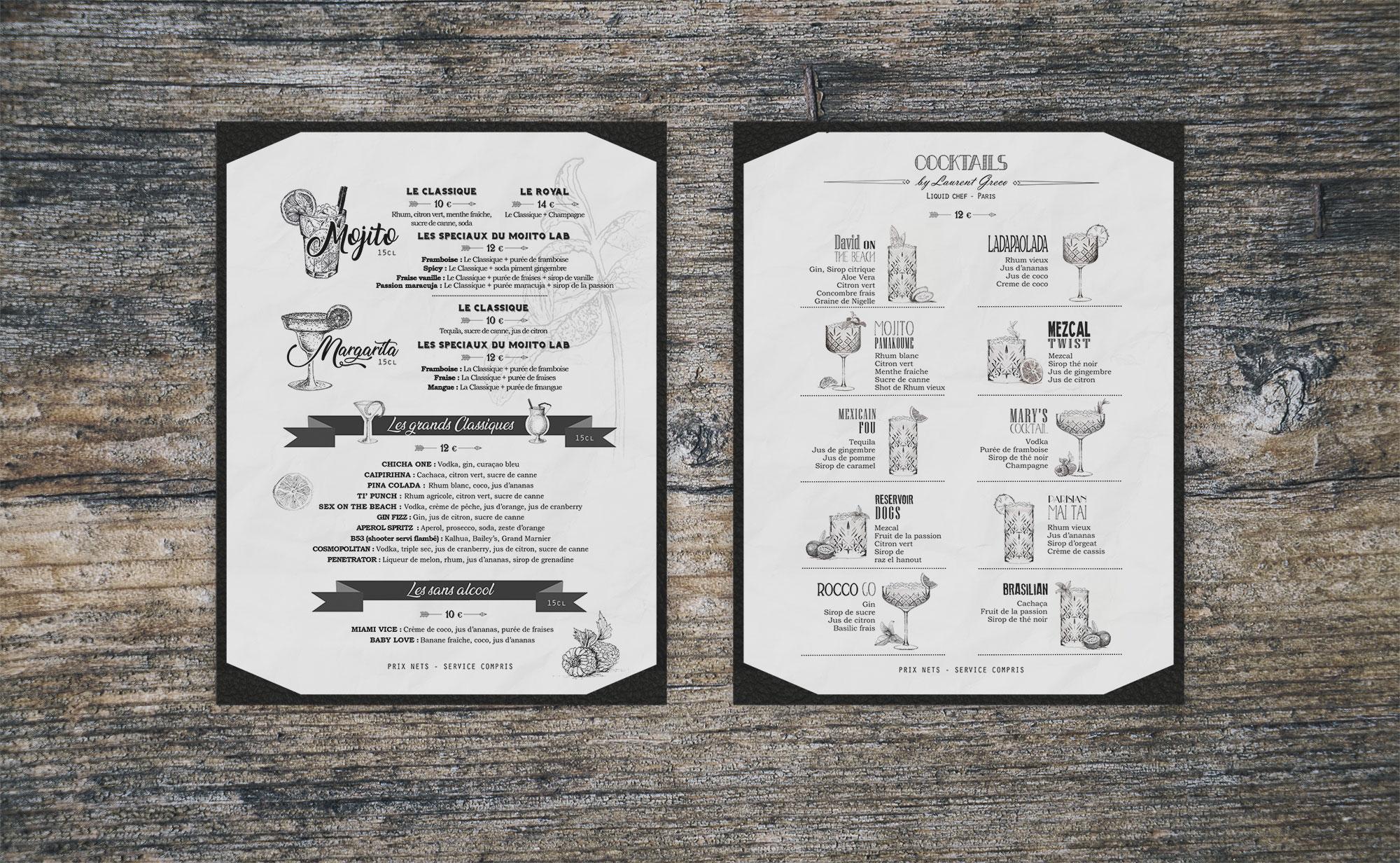 mockup menu cocktail le reservoir